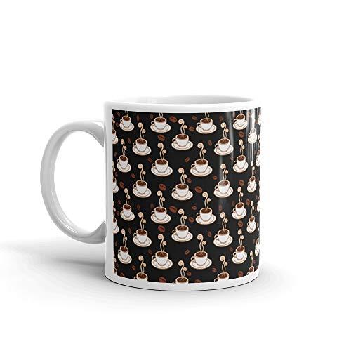 Coffee Cups Seamless Pattern Mug 11 Oz Ceramic