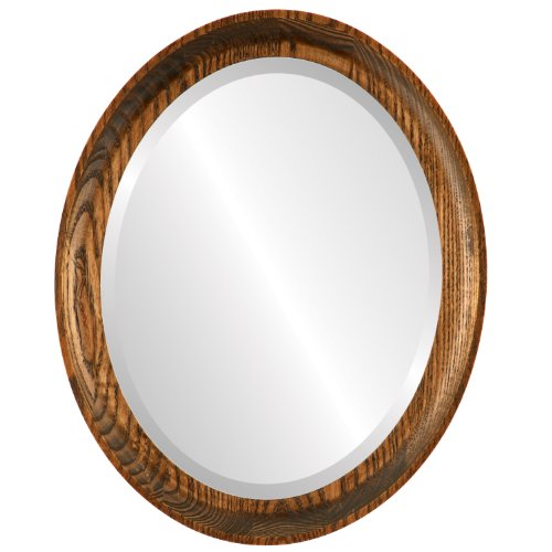 Oval Beveled Wall Mirror for Home Decor - Vancouver Style - Toasted Oak - 19x23 outside dimensions