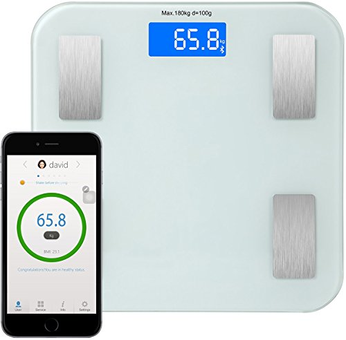 GPCT Mini [Smart] Precision Body Fat Composition Scale/Analyser. [LCD Display] Bluetooth/Wireless. Measures BMI, Body Fat/Water/Muscle/Visceral Fat, Calorie & Bone Mass. iOS/Android Compatible!