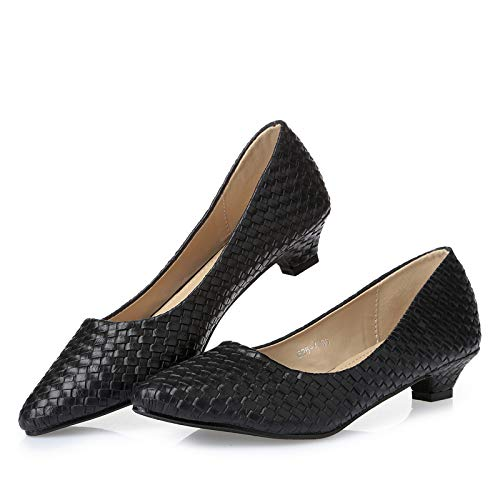 shoes fashion Ladies work shoes single Black heel casual shoes low FLYRCX comfortable wUq14E8