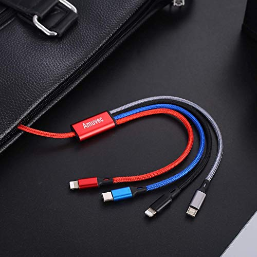 Amuvec Multi USB Kabel: 4 in 1 Schnell Universal Nylon Mehrfach Ladekabel Micro USB Typ C 2 iP für Smart Phone 11 Pro Max Xr X 8 7 6 5 Android Galaxy S10 S9 S8 S7 A5 J5 Huawei Xiaomi Kindle PS4-1.2M