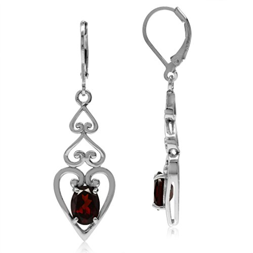 2.92ct. Natural Garnet 925 Sterling Silver 3-Heart Victorian Style Leverback Dangle Earrings