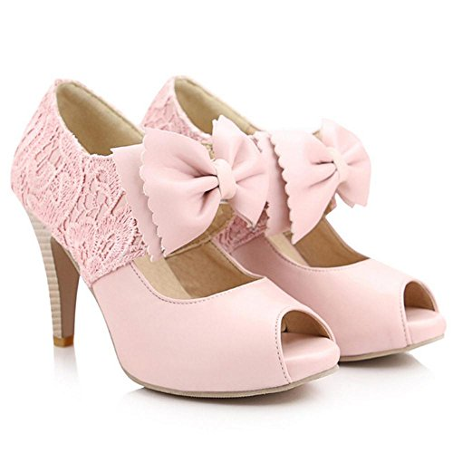 Coolcept Zapatos de Tacon Alto Peep Toe para Mujer Pink