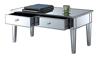 Convenience Concepts 413382SS Coffee Table with Two Drawers Mirror/Silver Frame