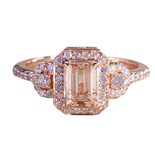 Limited Time Sale: 1.25 Carat Peach Pink Morganite (emerald cut Morganite) and Diamond Engagement Ring in 10k Rose Gold