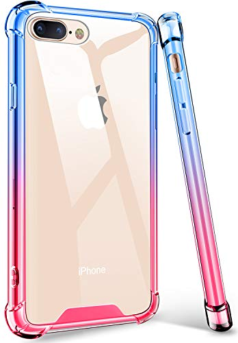 iPhone 8 Plus Case, iPhone 7 Plus Case, Acalantha High Impact Colorful Clear Back Girly Shock Absorption Bumper Protection Case Cover for Apple iPhone 7 Plus 8 Plus (Blue Pink)
