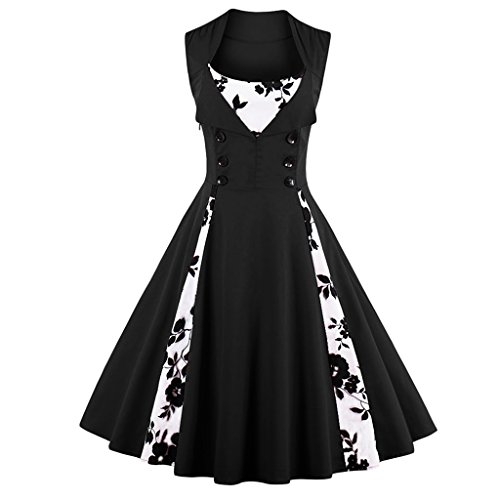 Olddnew Women's Vintage Cocktail Dress Plus Size Long Sleeves, 50's Style Rockabilly Swing Party Dresses For Women (L, Black Sleeveless)