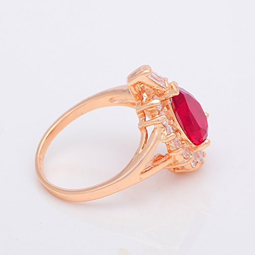 GemMart Jewelry Elegant Engagement Ring Garnet Gold Plated Red Crystal Zircon Fashion Jewelry Ring 7 8 9 JR2065A