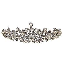 Remedios Pretty Wedding Tiara Headbands Bridal/Bridesmaid Crowns Headpiece w/ Rhinestone and Pearl