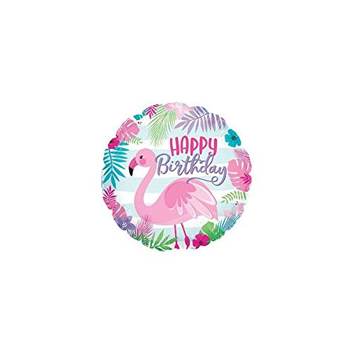 1 - Happy Birthday Tropical Pink Flamingo 18'' Mylar Balloon Birthday Party Decorations Supplies -