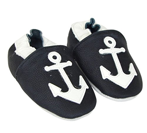 Kids Unisex Baby Boy Girl Pre-Walker Leather Moccasin Slip-on Shoes, Black Anchor - Walker Boys Pre
