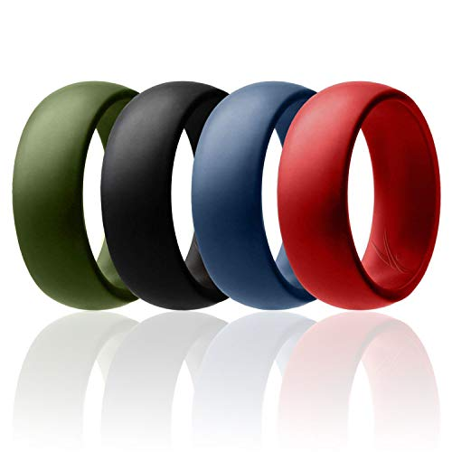 ROQ Silicone Wedding Ring for Men Affordable Silicone Rubber Band, 4 Pack - Black, Blue, Red, Green - Size 8 -