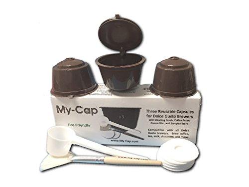 My-Cap's 3 Reusable/Refillable Capsules for Nescafé Dolce Gusto Brewers | Compatible with Mini Me, Genio, Piccolo, Esperta and Circolo …