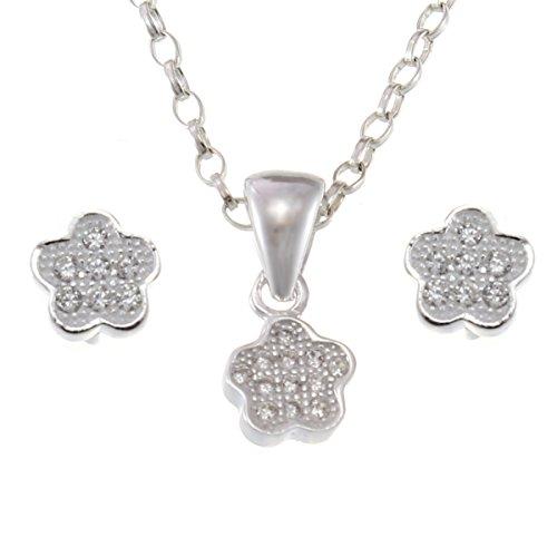 Enfants Femme–Argent 925/1000Pendentif Fleur Et Boucles d'oreilles Bijoux Set