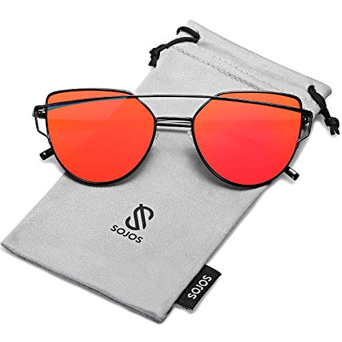 SOJOS Cat Eye Mirrored Flat Lenses Street Fashion Metal Frame Women Sunglasses SJ1001 with Black Frame/Red Mirrored ()