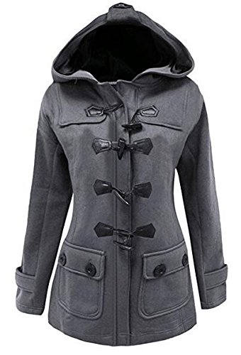 Womens Classic Pea Coat Jacket Wool Blended Plus Size Hoodie Outwear XL Grey