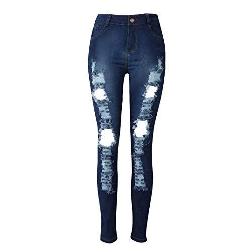 Mujeres Lápiz De Largos Blau Clásico Bolsillo Mezclilla Pantalones Casuales Delgados Las Delantero Vaqueros Elásticos qtxpCYn