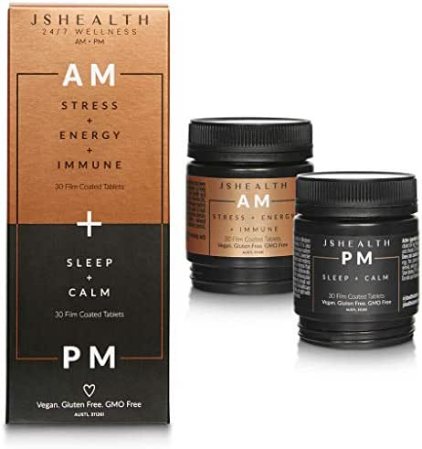 JSHealth Vitamins, AM + PM Formula   Daily Multivitamin for women and men   Energetic Day Formula   Calming Mineral and Lavender Night Formula   Vegan Multivitamin, Non-GMO (60 Tablets, 30 Day Supply)
