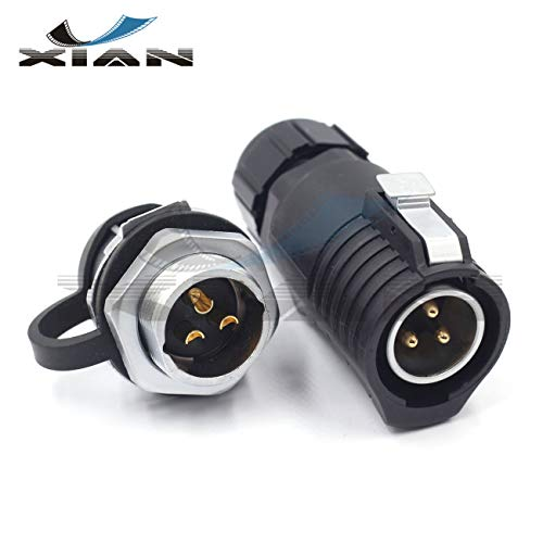 Y'XIAN XHE20 21mm 3Pin Industrial Power Cable Connector,Outdoor Waterproof Connector IP67 for LED Light ()