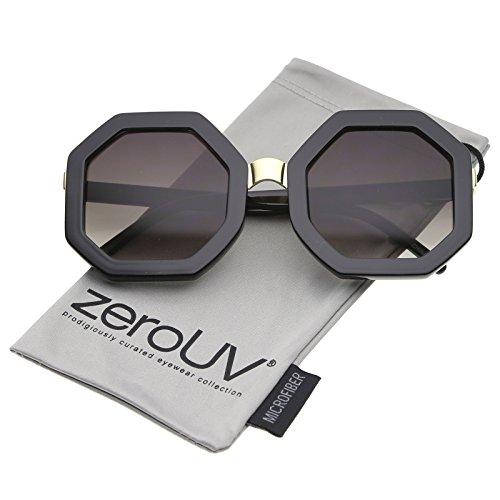 zeroUV - Retro Metal Nose Bridge Octagon Shape Oversize Sunglasses 53mm (Black-Gold / - Sunglasses Octagon