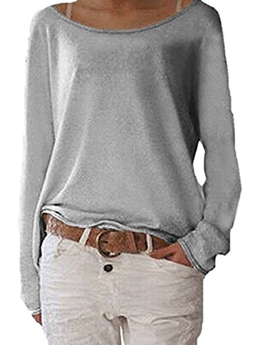 Gris Manches Fashion Longues Chemisiers Pulls Col Shirts Blouses Shirts Femmes Tops Bateau Casual Nue Lache T HZXqyFxw