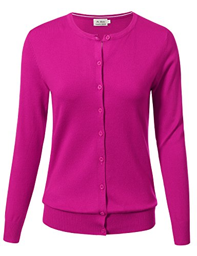 ARC Studio Women Button Down Long Sleeve Crewneck Soft Knit Cardigan Sweater M Hot Pink