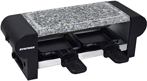 Syntrox Germany raclette Glarus, in acciaio inox, con piastra grill e pietra ollare per 2persone