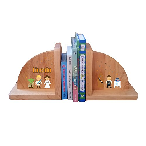 Personalized Galaxy Friends Natural Childrens Wooden Bookends by MyBambino