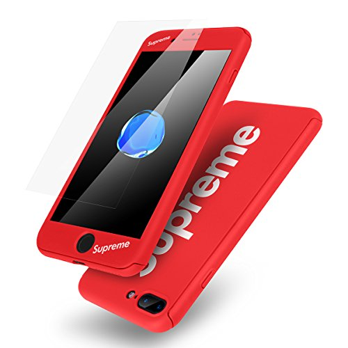 iPhone 7 Plus Case,AICase Ultra Thin Supreme Fashion Full Body Coverage Protection Soft PC [Dual Layer][Slim Fit] Case with Tempered Glass Screen Protector for Apple iPhone 7 Plus(Red) from AICase