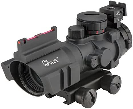 CVLIFE 4x32 Tactical Rifle Scope Red & Green & Blue Tri-illuminated Rapid Range Reticle Scope with Fiber Optic Sight