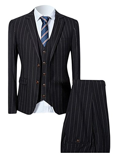 JYDress Mens Pinstripe Slim Fit Men Suit 3 Piece Wedding Formal Suits (3 Button Black Pinstripe Suit)