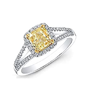 Sterling Silver Yellow and White Cubic Zirconia Cushion-cut Halo Ring