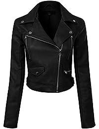 Women's Long Sleeve Zipper Closure Moto Biker Faux Leather Jacket