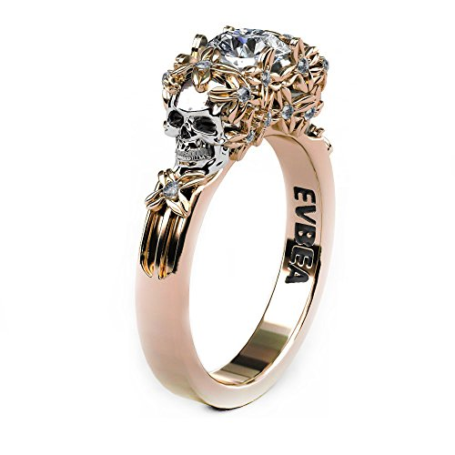 EVBEA Simulated Diamond Engagement Rings Rose Gold Halo CZ Flower Skull Promise Rings (6)