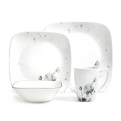 (Corelle 3926 Fleurs Du Soir Dinner Set, Black/Grey)
