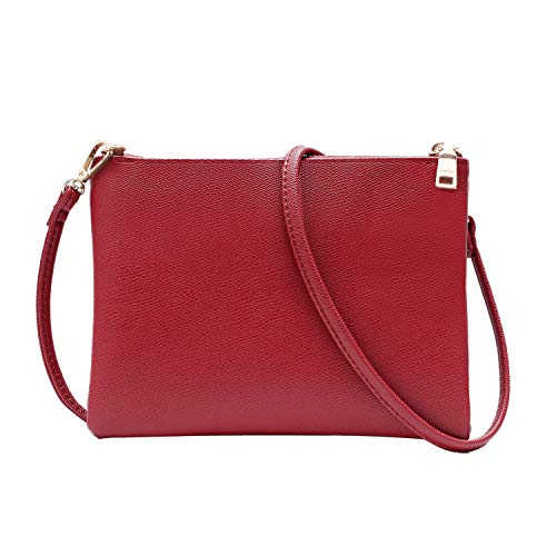 Crossbody Bag for Women, Small Shoulder Purses and Handbags Lightweight PU Leather Wallet with Detachable Straps (Red)