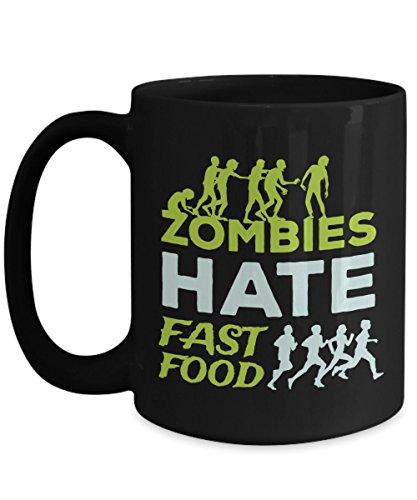 Zombies Hate Fast Food Coffee Mug Funny Halloween Gift Idea For Women Men Black 15oz Ceramic]()