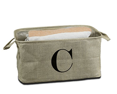 Urban Legacy Letter Initial Monogram Storage Basket Burlap Eco-Friendly Jute. Storage Bin Nursery, Beauty Products, Office Supplies, Gift Basket Monogram (C) (Home Decor Gift Basket)