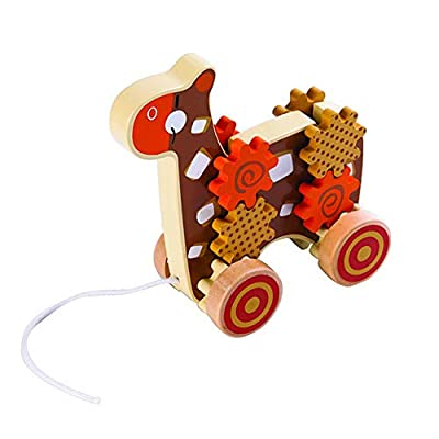 Applesauce 98406 Wooden Pull Toys Infant Development Educational Baby Toys (Giraffe), Brown: Toys & Games [5Bkhe0305564]