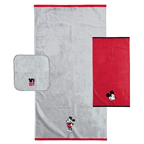 Mickey Mouse Bath Towels - Disney Mickey Mouse Kids 3 Piece Bath Towel Set - Bath, Hand, Washcloth Set - Super Soft & Absorbent Fade Resistant Cotton Towels (Official Disney Product)