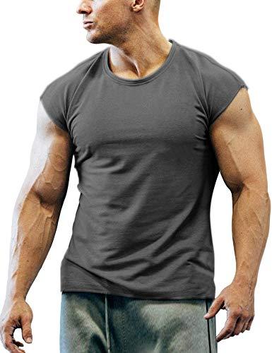 COOFANDY Men's Gym Workout T Shirt Short Sleeve Muscle Cut Bodybuilding Training Fitness Tee Tops (Medium, 02-Dark Grey)