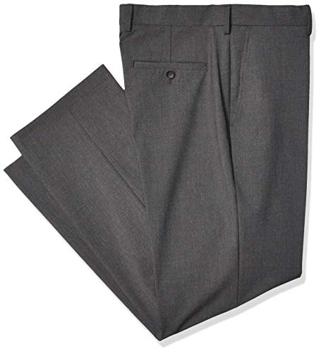 J.M. Haggar Men's 4-Way Stretch Solid Gab Classic Fit Suit Separate Pant, Charcoal Heather, 38Wx32L
