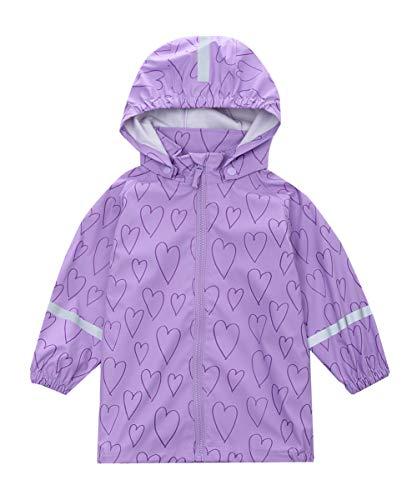 Hiheart Girls Waterproof Rain Jacket Hooded Lightweight Windbreaker Light Purple 4T