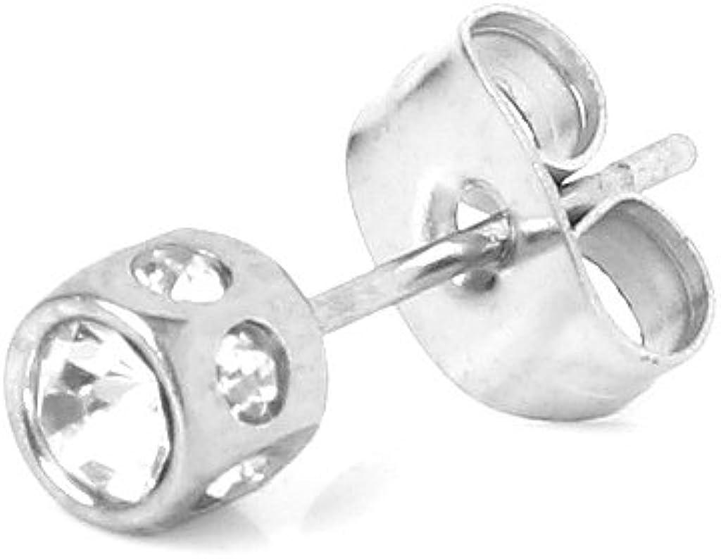 P Prettyia Pendientes de Oreja de Acero Inoxidable Falsos para Hombres Pendientes de Botón de Diamantes de Imitación Transparentes
