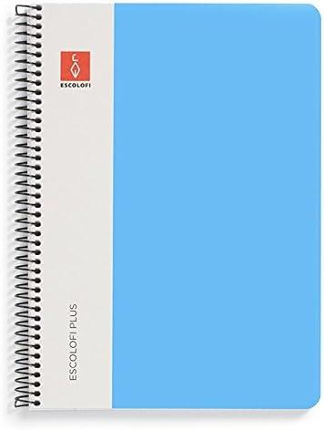 Escolofi Pack de 3 libretas de espiral de 80 hojas de 90 gr/m2 DIN A5 Plus doble línea 3 mm margen color cian: Amazon.es: Oficina y papelería