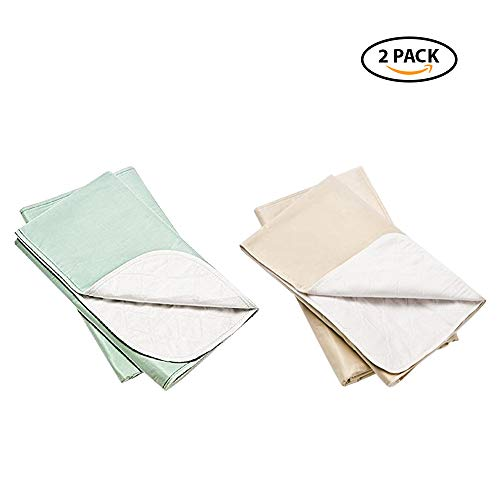 Platinum Care PadsTM Washable Large Standard Reusable Bed Pads/Hospital Underpads, for use with Incontinence and Pets Size 34x36 in, Pack of 2 (Green & Beige)