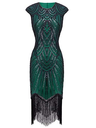 (FAIRY COUPLE 1920s Sequined Embellished Tassels Hem Flapper Dress D20S002(S,Green Black))