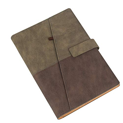 CYOS Fashion Spiral Bound Notebook PU Soft Leather Journal A5 Six 6 Circular Rings Binder Campus Magnetic Journal Clip Loose Leaf Business Diary with Pen Holder (Tawny & Brown)