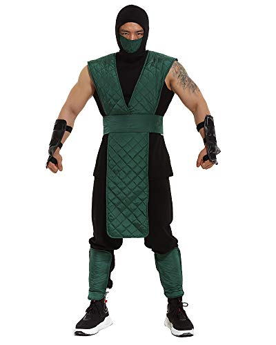 Miccostumes Men's Reptile Cosplay Halloween Costume Green Suit with Mask (M) -