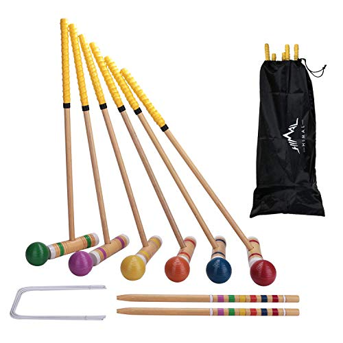 Himal Premium Wooden Six Player Croquet Set for Families Backyard